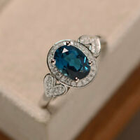 1.65 Ct Certified Real Diamond Engagement Ring 14K White Gold Topaz Size 5 6 7