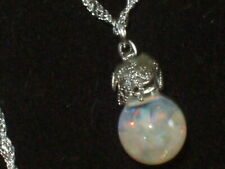 opal necklace floating opal necklace pendant sterling
