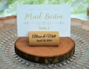 Set of 10 Personalized wine cork place card holder - Wedding place card holder