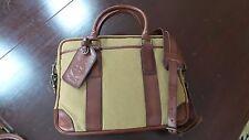 NEW! $298 Polo Ralph Lauren Canvas & Leather Briefcase Shoulder Messenger Bag
