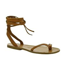 Italian laced-up flat open sandals shoes for women handmade in tan soft leather
