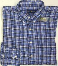 NWT $145 Polo Ralph Lauren Shirt Men XLT TALL Striped Blue Plaid Linen NEW