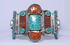 Asian design Jewelry Sterling silver Turquoise Bangle Bracelet Tibetan Cuff  B3a