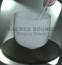 "CRYSTAL SINGING BOWL 11"" QUARTZ FROSTED THROAT CHAKRA NOTE G Brand New Bowls"
