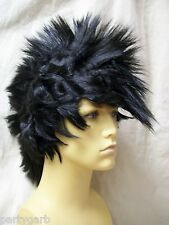 Black Punk Mohawk Wig Wild Rocker Funky EMO Grunge Biker Dude Chic Unisex Indian