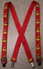 """Suspenders Children 1""""x30"""" FULLY Elastic Rubber Duckies NEW Yellow on Red"""