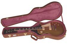 Kinsman CLP7 Les Paul en forma de guitarra caso-Marrón leathergrain con textura de tela.