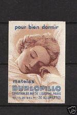 Ancienne étiquette allumettes France Dunlopillo Femme