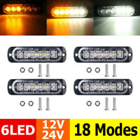 4x White/Amber 6 LED Car Strobe Flash Light Emergency Warning Flashing Lamp 12V