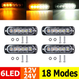 4x White/Amber 6 LED Car Strobe Flash Light Emergency Warning Flashing Lamp 12V