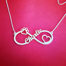 Name Necklace, Silver Name necklace, Animal lovers jewelry, Dog paw heart chain