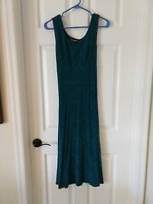 Vtg 90s Teal Green Textured Rayon Sleeveless Maxi Dress Tie Back Size 10 Grunge