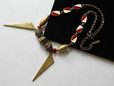 "JewelMint Signed Aqua Diver Flag Symbol Brass Tone Bead Statement Necklace 17"""