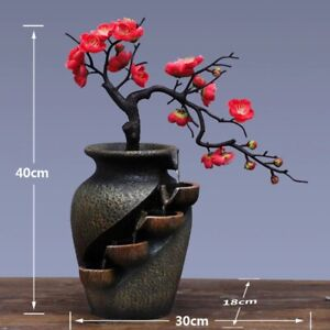 Waterfall Fountain Garden Simulation Plant Vase Resin Crafts Indoor Home Décor
