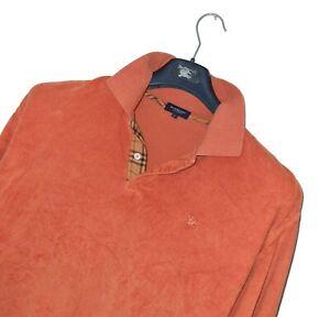 Men's BURBERRY LONDON Luxury MODAL/WOOL Blend Long Sleeve Polo Shirt Size 7 XXL