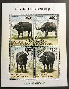 African Buffalo CTO Souvenir Sheet of 4 Stamps 2014 Ivory Coast