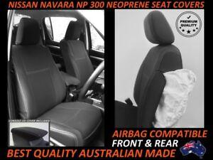 FITS NISSAN NAVARA NP300 FRONT&REAR NEOPRENE SEAT COVERS FULL BACKS 4xMAP POCKET