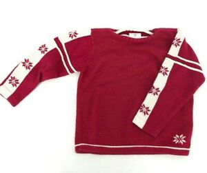 Hanna Andersson Boys Red Holiday Snowflake Sweater Knit 110 US 4T 4 Peru