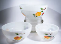 Vintage Anchor Hocking Fire King Gay Fad Fruit 3 Nested Bowls