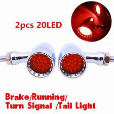 2x Universal Motorcycle 20LED Red Lamp Rear Turn Signal Brake lights Indicators