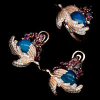 Oval Blue Fire Opal 9x7mm Pink Tourmaline Cz 925 Sterling Silver Ring Earrings