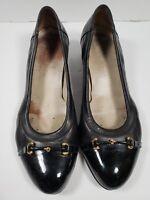 Agl Attilio Giusti Leombruni Black Captoe Patent leather Block Heel Pumps sz 40