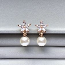 Clip on marquise cut zirconia flower with drop pearl rose gold plated earrings