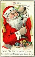 Santa Claus~on Telephone~with Sack of Toys~Antique~Christmas Postcard-m42