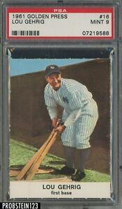 1961 Golden Press #16 Lou Gehrig New York Yankees HOF PSA 9 MINT