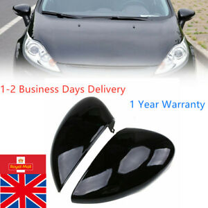 Pair Gloss Black Wing Mirror Cover Cap Painted for Ford Fiesta MK7 08-17 UK Ship