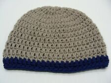 TAN WITH NAVY BLUE TRIM - HAND KNITTED - INFANT SIZE STOCKING CAP BEANIE HAT