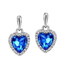 New Swarovski Element Crystal Jewellery Ocean Blue Dainty Heart Pierced Earrings