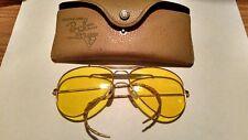 Vintage B&L Ray Ban Shooting Aviator Yellow Amber Sunglasses Glasses RARE!