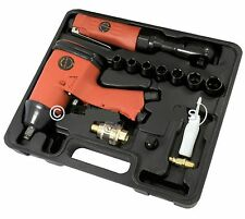 """15PC 1/2"""" AIR IMPACT WRENCH & 3/8"""" DRIVE REVERSIBLE AIR RATCHET + SOCKETS CASE"""