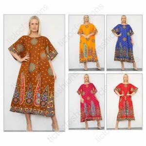 Ladies Long African Kaftan Dress Floral Print Pockets 100% Cotton Free Size 3309