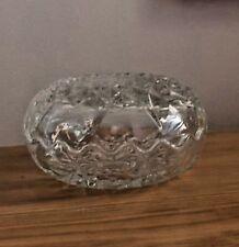 ROUND CUT CRYSTAL TWO PIECE SCALLOP EDGED CANDY DISH TRINKET BOX MINT CONDITION