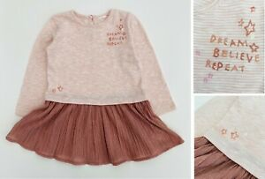 NEXT Girls Baby Dress Cotton Long Sleeve Pink Party Sequin Sparkly Tutu  NEW