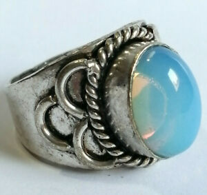 BEAUTIFUL POST MEDIEVAL VINTAGE SILVERED SEAL RING WITH STONE INSERT