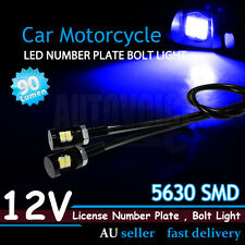 Bright Blue 5630 SMD 12V LED Number Plate Light Bolts Fit Harley Davidson Trike