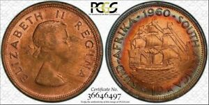 1960 SOUTH AFRICA ONE PENNY BU PCGS MS63RB RAINBOW TONED COIN IN HIGH GRADE