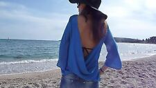 ZARA WOMEN  Blouse Deep V  Back Draped Top Blue Shirt  size M