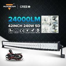 Auxbeam 42 inch LED Light Bar 240W Cree Spot Flood Curved Off Road Driving 5D