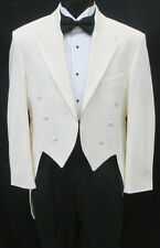 Boys Size 4 Ivory Oscar de la Renta Tuxedo Tailcoat with Satin Trimmed Lapels