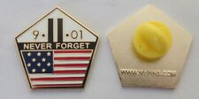 NEVER FORGET 9/11/01 WORLD TRADE CENTER PENTAGON USA Flag MEMORIAL PIN 911 WTC
