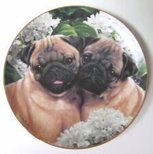 The Danbury Mint Pug Love Plate by Simon Mendez