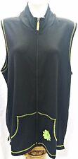 Quacker Factory Women's Extra Large Vest Black Full Zip Flower Embellishment
