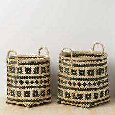 Bamboo Storage Basket with Handle SET OF 2