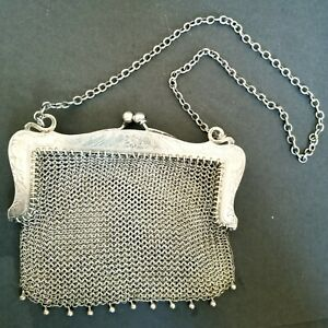 Antique Whiting & Davis Sterling Silver Mesh Purse Bag Marked W&H Sterling