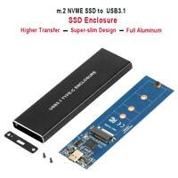 USB 3.1 Type C to NVMe M.2/NGFF PCI-E(M-KEY) SSD Enclosure Case Hard Drive Box