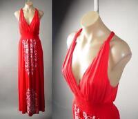Red Art Nouveau Design Surplice Smock Waist Long Maxi 232 mv Dress XL 2XL 3XL